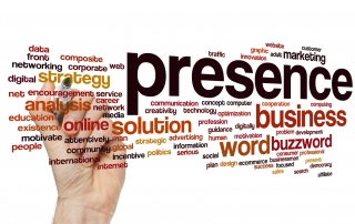Presence concept word cloud background